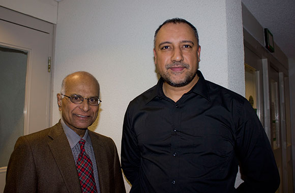 John Sooran (on the left),  a member of Toastmasters for over 20 years and an expert public speaker, is standing alongside Jas Taggar, Vice President of Public Relations for the Scarborough Toastmasters Club.