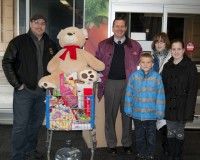 Andrew Farrace, Kevin Zenglenin, Christian Zenglenin, Taylor Cook, and Hunter Cook all helping out and collecting toys at the Markham Road and Eglington Avenue East Wal-Mart store during the Stuff-the-Bus Toy Drive.