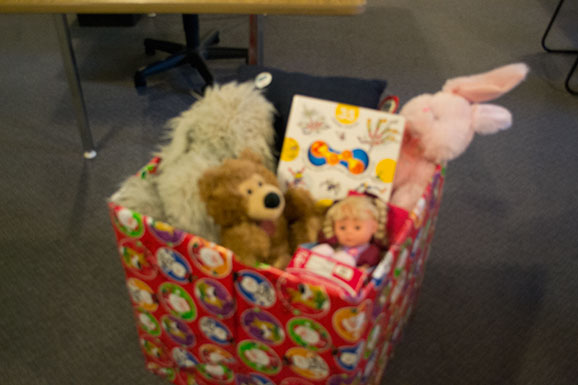 Toys fill the Cancer Recovery Foundation of Canada toy drive donation box at one of 11 Sylvan Learning Centres across the city. The toy drive ran from Nov. 15 to the end of the month.