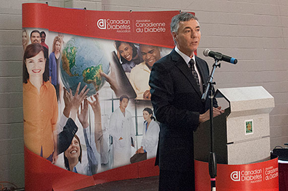 Kerry Bruder, Regional President of the Canadian Diabetes Association, addresses at the South Asian Canadian Diabetes Expo on Nov. 30.