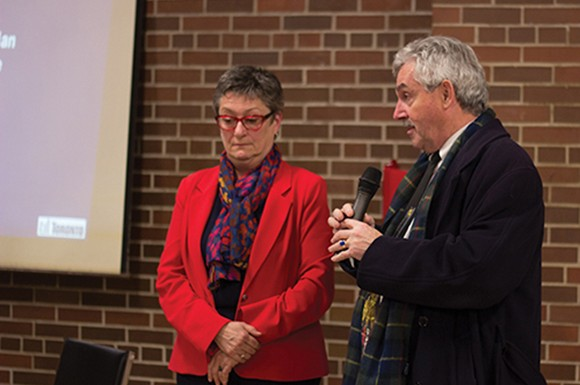 Beaches-East York city councillor Janet Davis and MPP Michael Prue discuss the move of an East York fire truck, at a community budget consultation organized by Davis. (Photo by Rajesh Sammy)