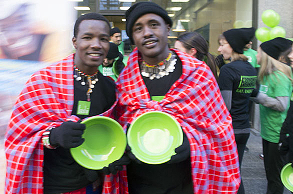 Wilson Meikuya and Jackson Ntirkana, two Maasai warriors from Kenya get set for the Freshii Run.