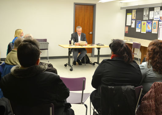 Author Nate Hendley reads excerpts from his book, Steven Truscott: Decades of Injustice, during an event for the Fall Author Series at the Kennedy/Eglinton library branch on Nov. 28.