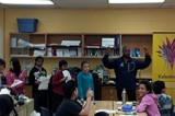 Dwayne Morgan organizes a poem competition with Mr. Kim's Grade 6 class at Silver Spring Public School.