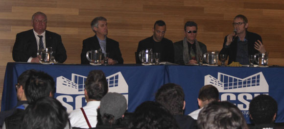 The panel from left to right: Rob Ford, David Soknacki, Robb Johannes, Al Gore and Richard Underhill.
