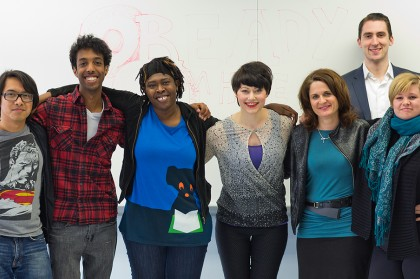 Project Fusion seeks to help youth who are less educated or have other barriers to employability.  Some of the project's staff are, (left to right) Dennis Gonzales, Simon Tesfay, Antoinette Sarpong, Evelyn Shaller-Auslander, Donna Lindell, Nick Cahill, and Mary-Ellen Rayner.