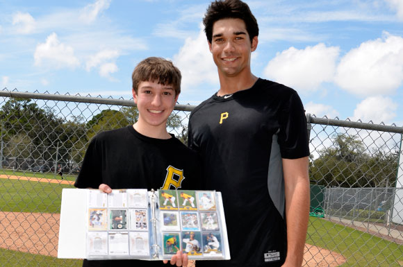 Matt Benedict (right) made the day of young fan Tony Mendez of Pittsburgh, Penn.