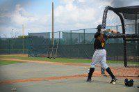 Mel Rojas Jr at batting practice in Pirate City.