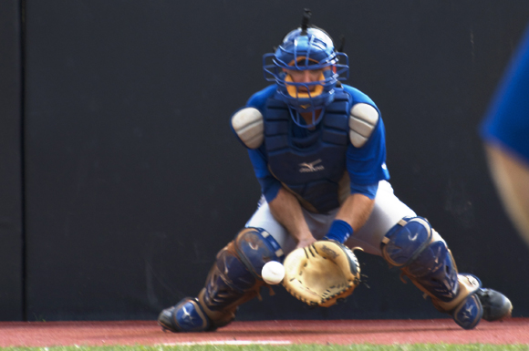 Peterborough, Ontario's Mike Reeves embraces the catcher / coach dynamic.