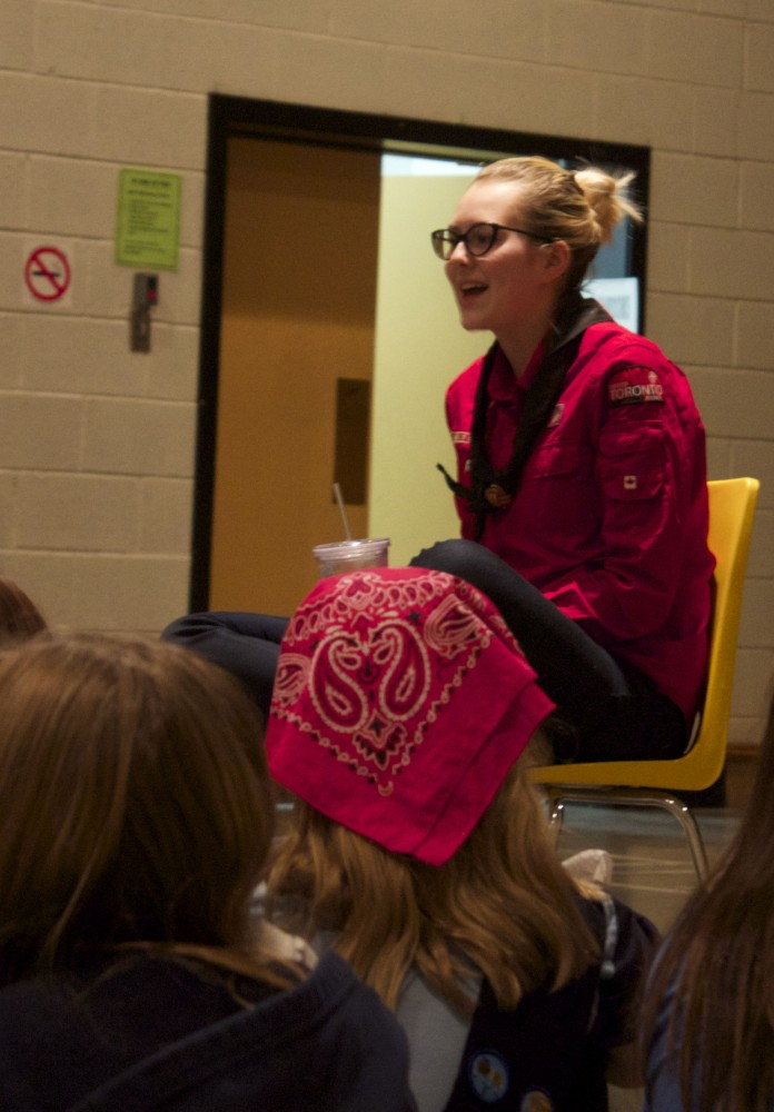 Morgan Baskin, Toronto mayoral candidate, speaks to Girl Guides at Cosburn United Church.