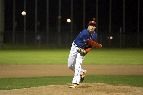 Mike Evans hurled a complete game victory for the Beers in game one of the GHBL championship.