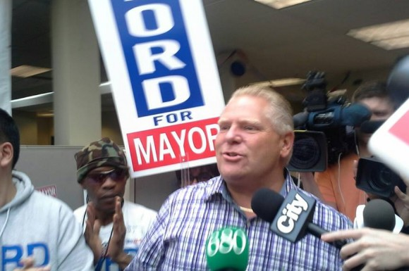 Ford talks to a group of supporters at his campaign headquarters at Etobicoke on Saturday.