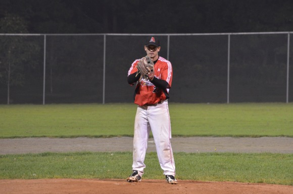 Shawn Balaga takes the sign before striking out the side in the sixth inning.
