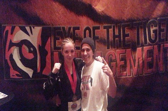 Caitlin Trenholme and Olga Rosa Heron at amateur boxing tournament.