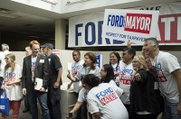 Ford Nation volunteers pose for a group photo at Doug's campaign headquarters on Saturday.