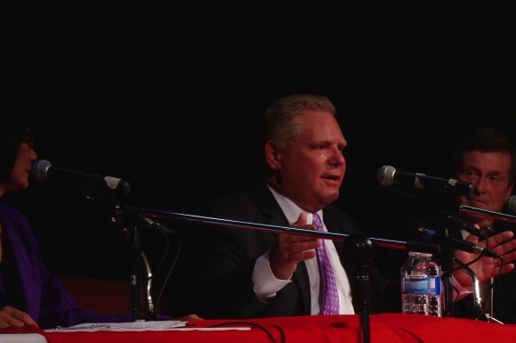 Mayoral candidates, from left to right, Olivia Chow, Doug Ford and John Tory  debate in Toronto on Tuesday, Sept 23, 2014