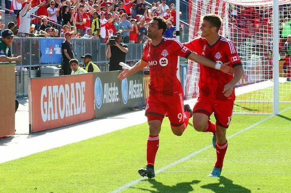 Gilberto celebrating the third goal in TFC's 3-0 win over Chivas USA.