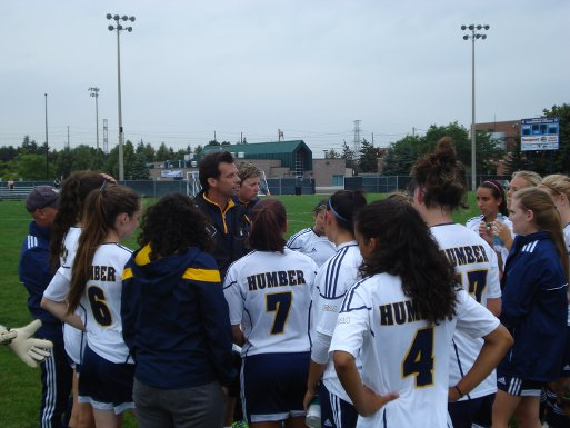 Coach Mauro Ongaro gives a pre-game speech to the Humber Hawks before their 3-1 victory over the Niagara Knights.