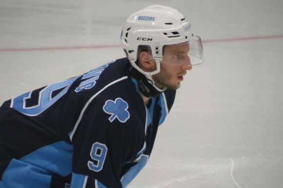 Marcel Fatovic lines up for a draw in the St. Michael's Buzzers' season opener