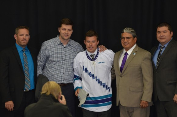 From left to right: Mike Hasen (Knighthawks head coach),  Mike Kirk (Knighthawks defenceman), Jeremy Noble (second overall pick), Curt Styres (owner and general manager), and Landon Miller (assistant general manager)