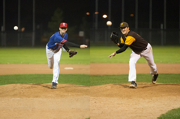 Cam McKnight (left) and Nate Penrose (right) held batters to a mere seven total hits in game 2 of the GHBL championship.