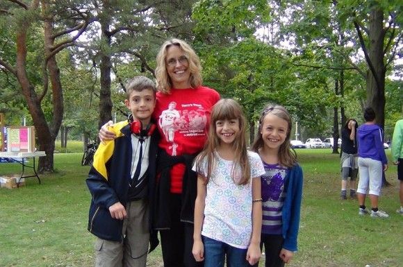 Treva Thompson with her three children at the Terry Fox Run.