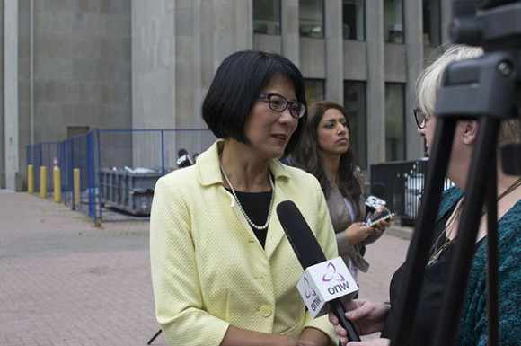 Olivia Chow speaks to reporters outside of City Hall about Ford's condition on Wednesday.