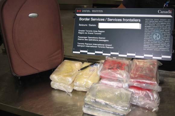 The Canada Border Services Agency seized was appears to be 14 kg of cocaine from Pearson international Airport