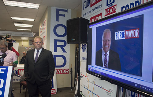 Doug Ford unveils campaign ad attacking Tory's time at Charts Communication.