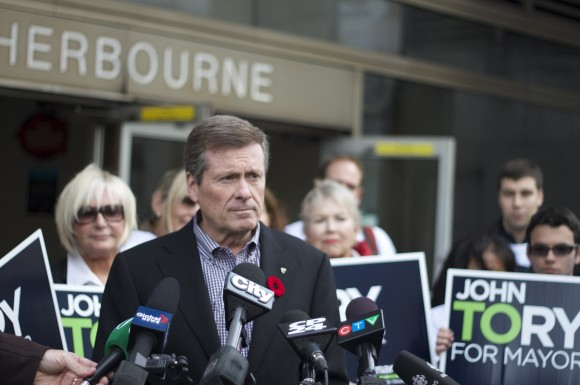 Tory speaks to media, greets voters at Sherbourne station