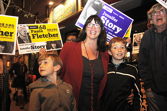 Jennifer Story and her sons at her victory party last night.
