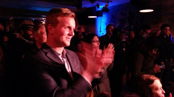 Joe Cressy celebrating his win in Ward 20