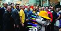 Speakers line up at Eaton Centre after announcing Chris Hadfield first torch bearer at Toronto Pan Am Games 2015