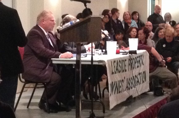 Doug Ford and the mayoral candidates speak to a packed room of mainly Leaside residents.