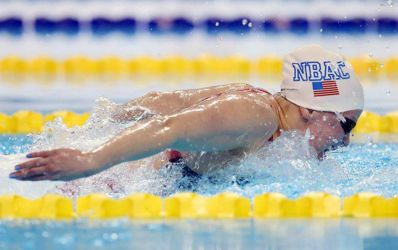 American Jessica Long swimming the 50 Metre Butterfly Friday night at the 2015 Can Am Para-Swimming Championships