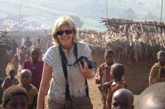 Sally Armstrong is pictured here during her visit to the Nyanzale displaced persons camp in Congo in 2009.