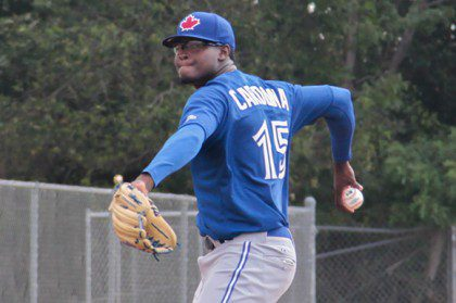 Adonys Cardona training at the minors-league spring traning 2015
