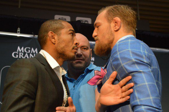 UFC Featherweight champion Jose Aldo and challenger Conor McGregor face off at press conference in Toronto.