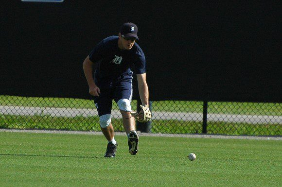 Ben Verlander fields a ground ball during practice at the Tigers' minor league training camp in Lakeland, Fla., Friday.