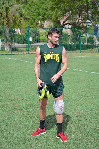 Rusin seen icing his knee after practice in St. Petersburg, Fla.