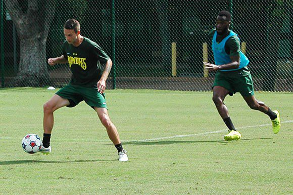 Brian Shriver, left, a forward for the Tampa Bay Rowdies takes part in a scrimmage Thursday at the team's outdoor site.