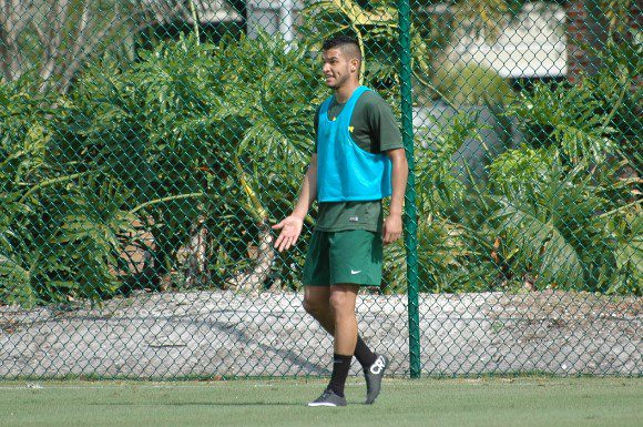 Darwin Espinal calls for the ball during a Tampa Bay Rowdies scrimmage on Thursday.