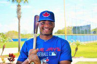Dominican shortstop,Dawel Lugo at Blue Jays spring training camp.