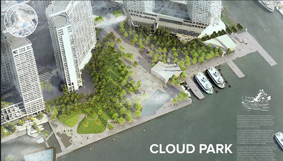 One waterfront design for public viewing.