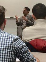 Bal Gosal, the Minister of Sport, speaks to the Sports Journalism students at  Centennial College on Tuesday.
