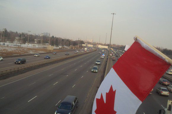Sgt. Andre Doiron's motorcade on Highway of Heroes