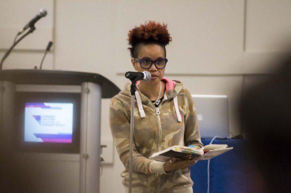 Staceyann Chin reads an exerpt from her memoir at the Consent Culture forum in Ottawa.