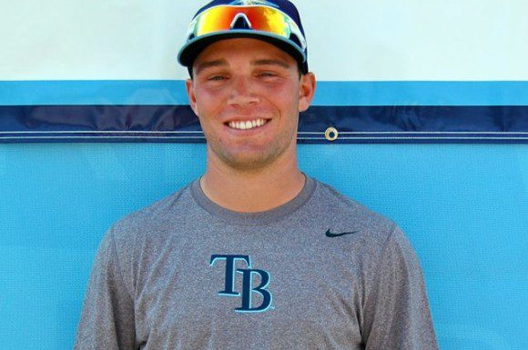 Tampa Bay Rays prospect Johnny Field poses outside the Charlotte Sports Park after practice drills at spring training.