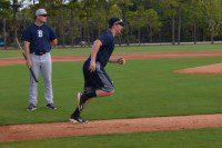 LAKELAND, Fla., - Detroit Tigers Prospect Joey Pankake sprints to first base during practice at spring training.