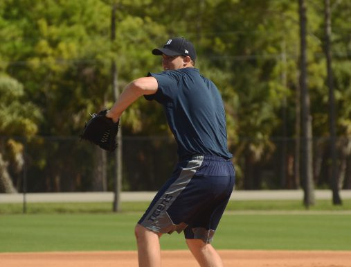 Austin Kubitza working the mound during Mini Camp at Detroit Tigers spring training. Joseph Narsa. March 14th, 2015. Clearwater, Fla.